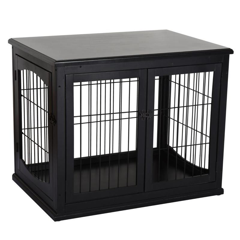 Hondenkooi voor thuis binnen hondenbench hondenhuis huisdier 2 deuren zwart
