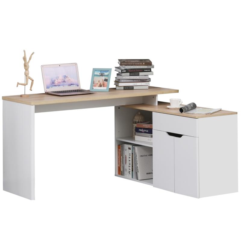 Computertafel hoekcombinatie hoekschrijftafel kantoortafel plank wit + naturel