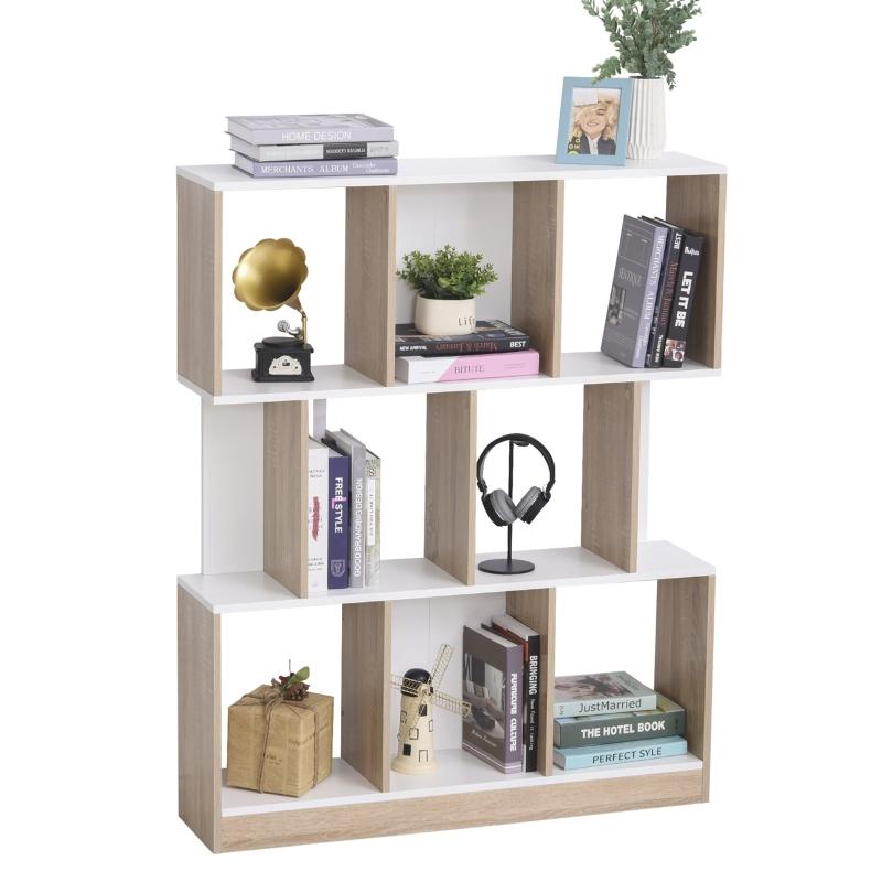 Boekenplank vrijstaande stelling kantoorplank archiefplank voor kantoor woonkamer MDF naturel + wit