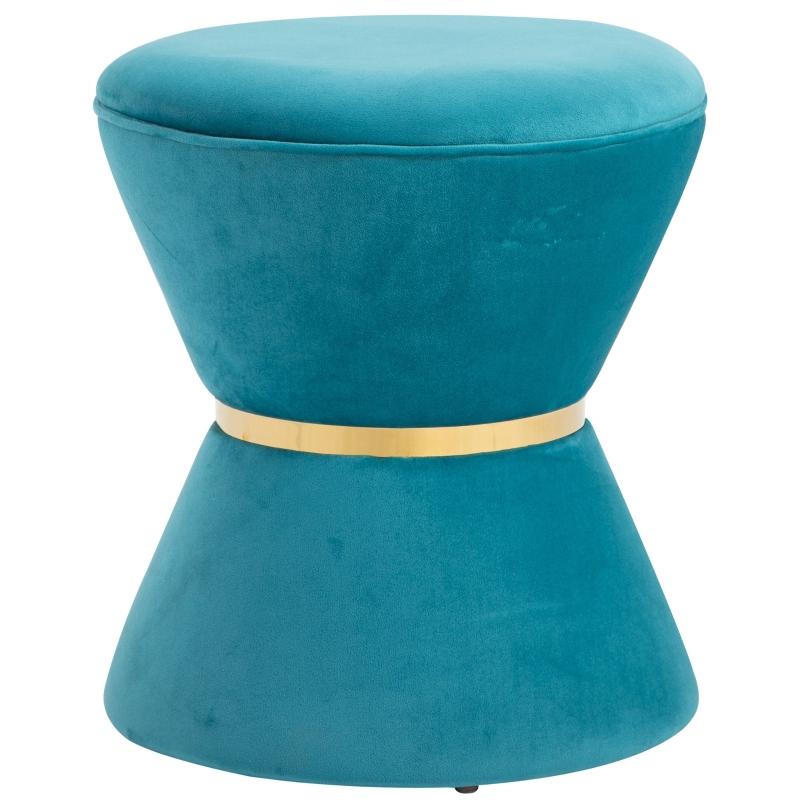 Kruk in zandloper design krukje gepolsterd krukje populierenhout hemelsblauw