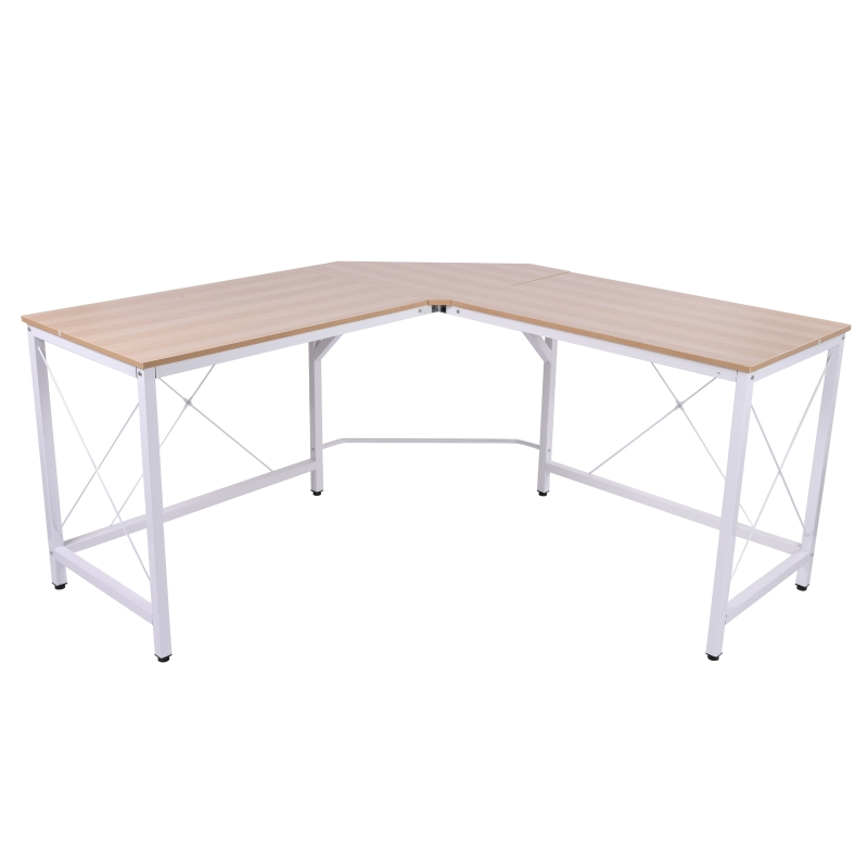 Computertafel L-vormig hoekbureau MDF naturel / zwart hoekbureau