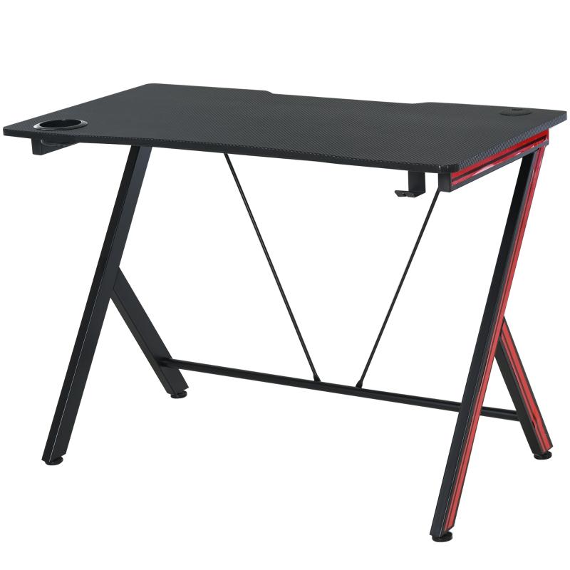Gamingtafel bureau computertafel met koptelefoonhaak staal + MDF zwart