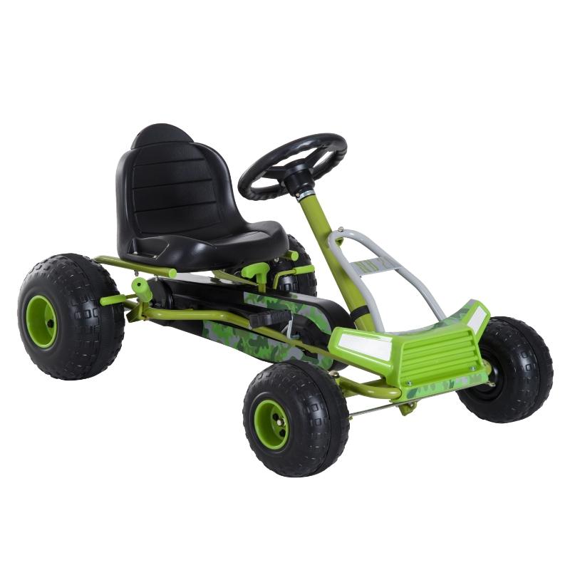 Skelter met handrem trapauto pedaalvoertuig vanaf 3 jaar kinderen groen