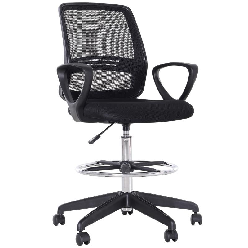 Werkstoel ergonomische draaistoel bureaustoel in hoogte verstelbaar met voetensteun