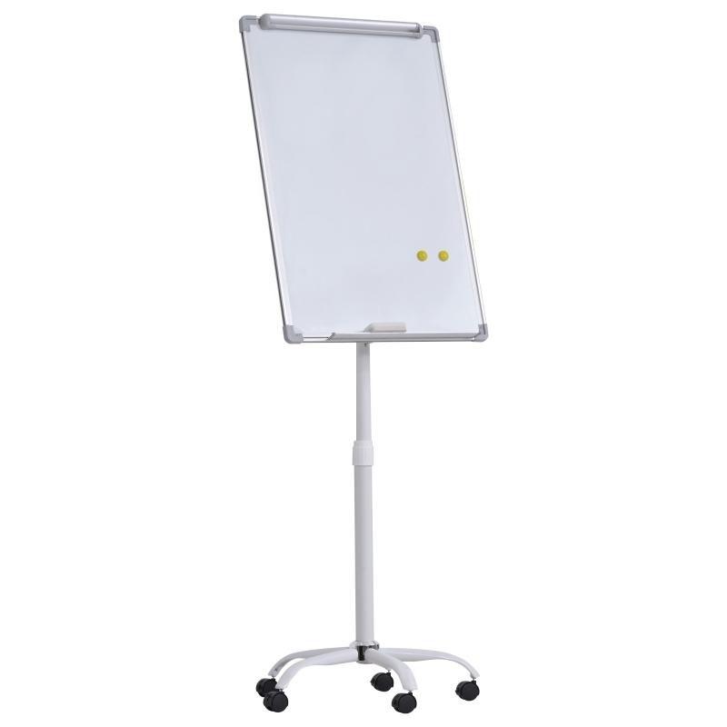 Magnetisch whiteboard op wielen in hoogte verstelbaar droog uitwisbaar pennenbakje
