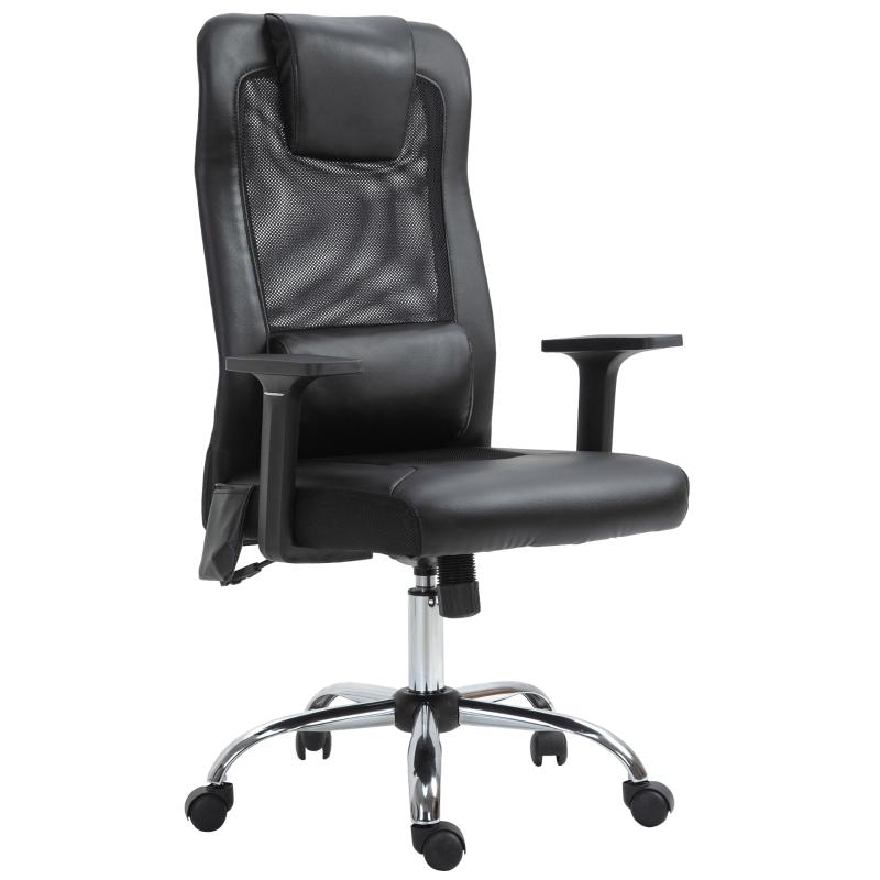 Massagestoel kantoorstoel draaistoel met massagefunctie in hoogte verstelbaar PU