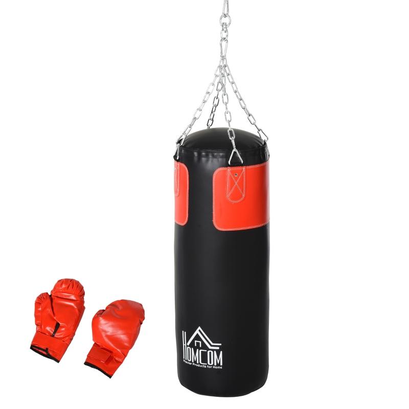 Bokszak trainingsdummy bokstraining boksen met bokshandschoenen zwart Ø 30 x 120 cm