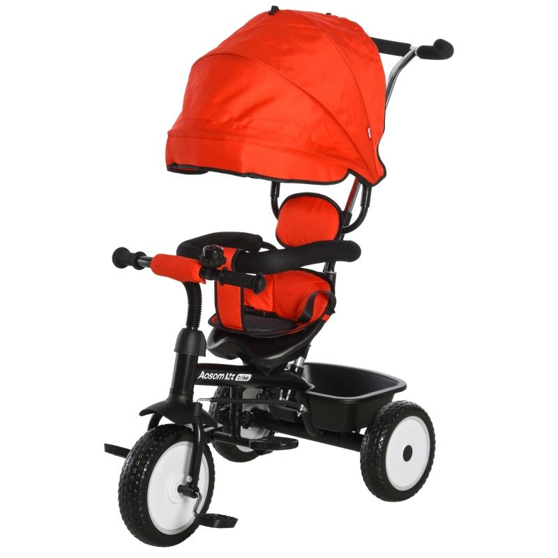 2-in-1 kinderdriewieler duwstang voor kinderdriewieler met dakje Trike rood