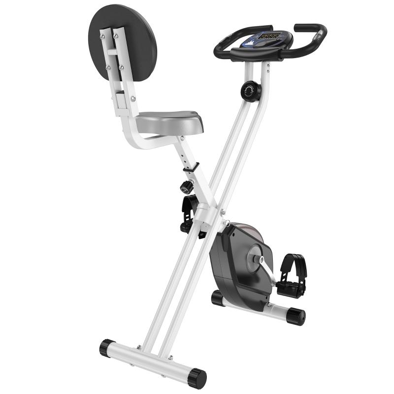 Hometrainer fietstrainer met 8 niveaus van magnetische weerstand staal zwart