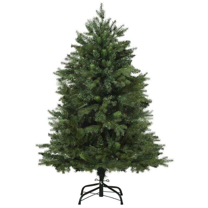 kunstkerstboom 1,2 m kerstboom dennenboom 839 takken metalen voet PVC