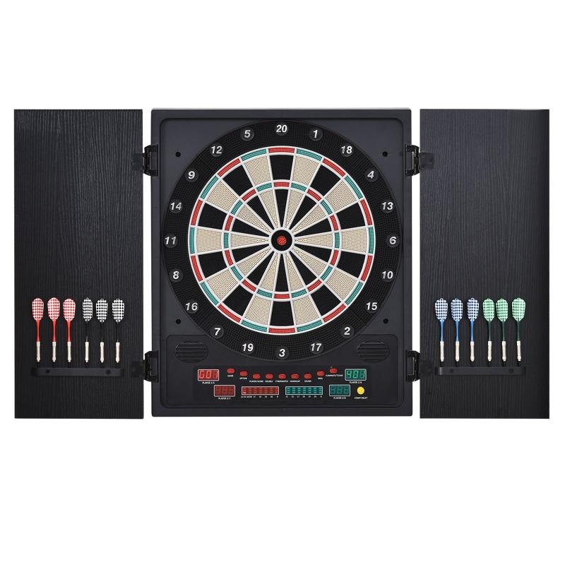 Elektronische dartset dartbord dartschijf met 12 darts zwart + wit 8 spelers