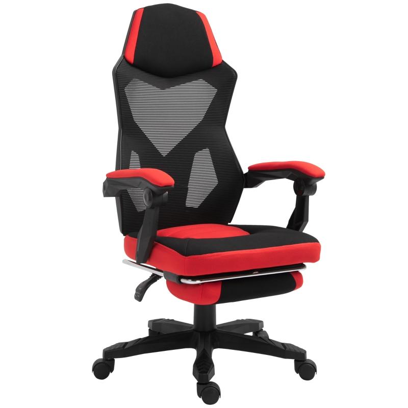 Ergonomische kantoorstoel gamestoel draaistoel met voetsteunen polyester zwart