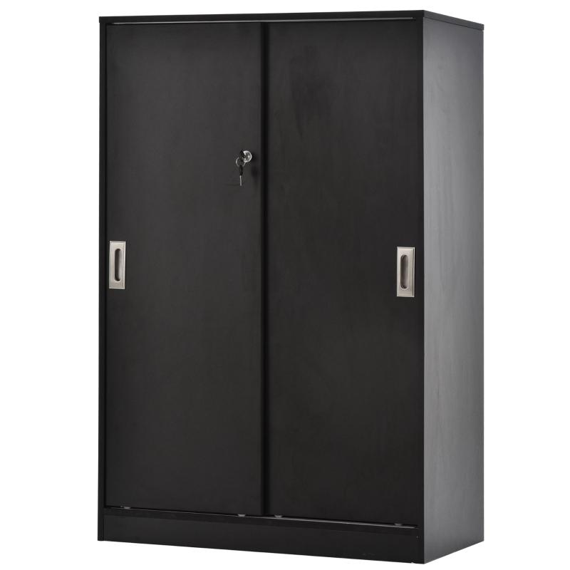 Archiefkast kantoorkast kantoorcontainer met 3 planken 2 deurkasten zwart