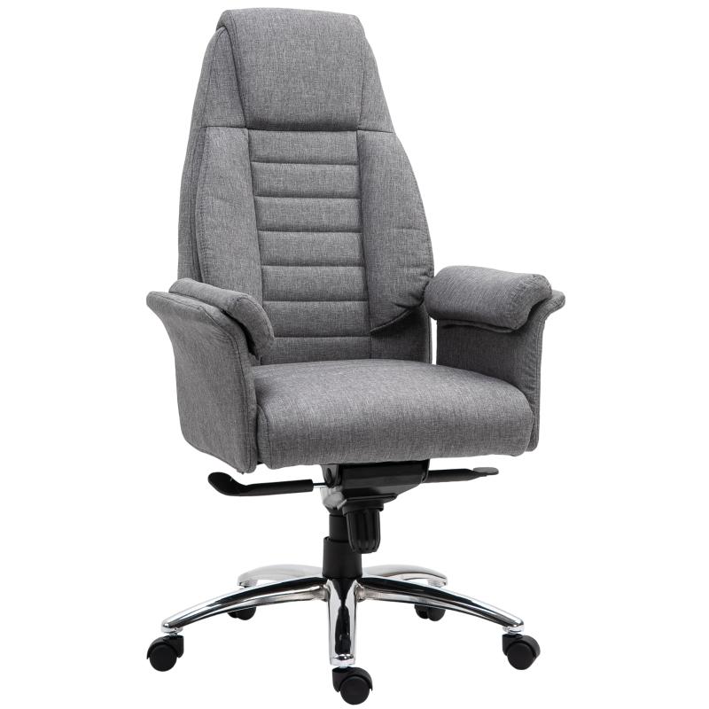 Kantoorstoel ergonomische draaistoel PC stoel in hoogte verstelbaar kunstlinnen lichtgrijs