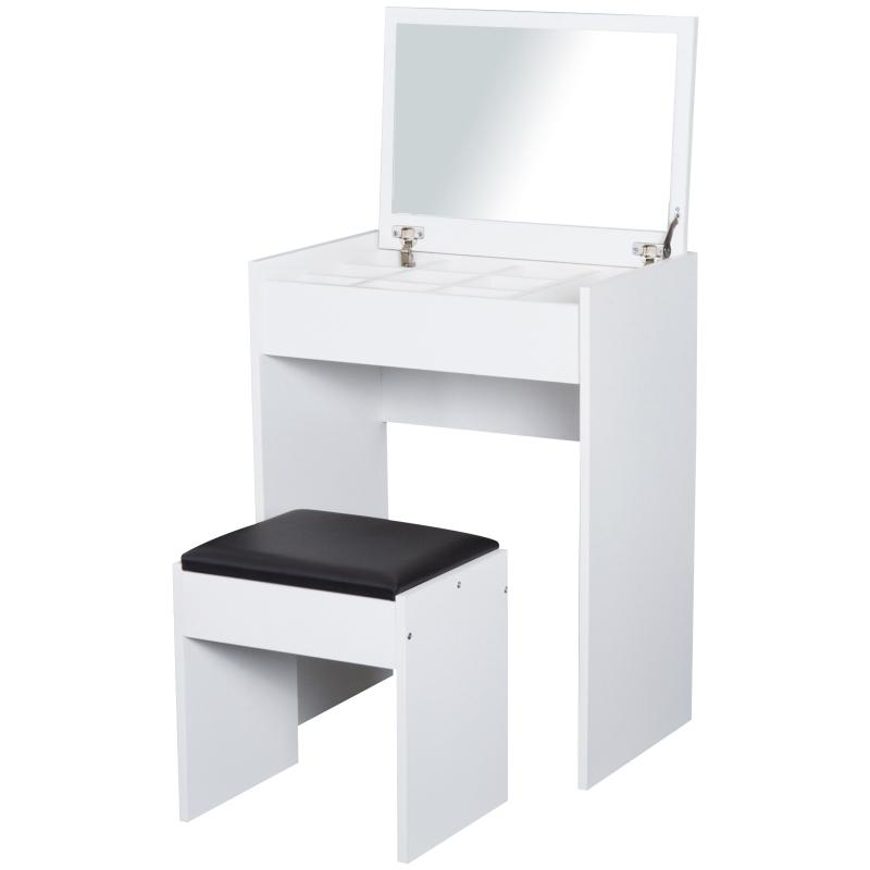 make-uptafel met krukje toilettafel kaptafel inklapbare spiegel wit