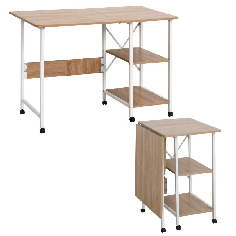Klaptafel tafel bureau kantoortafel met wielen computertafel mobiel MDF natuur