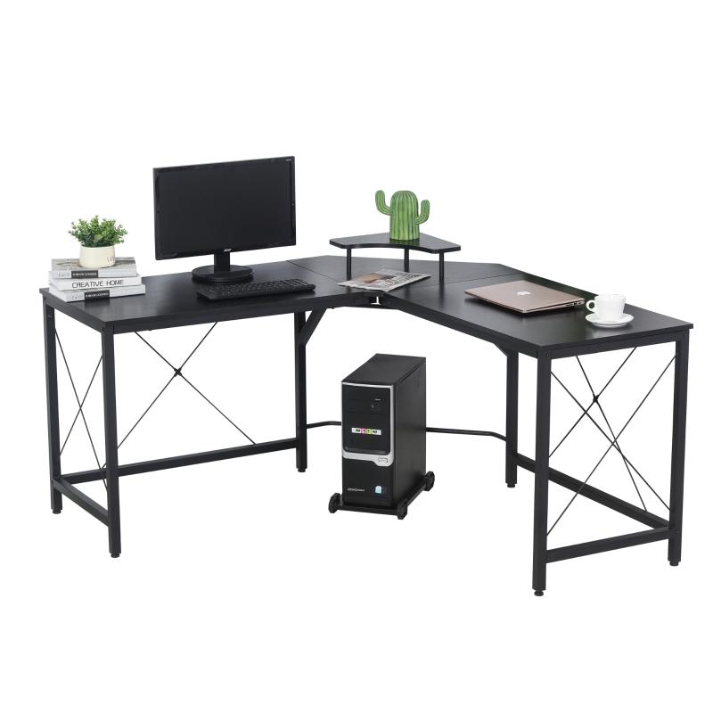 Computerbureau L-vormig hoekbureau bureau kantoortafel metaal zwart