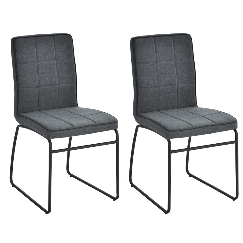 Eetkamerstoelen met rugleuning, set van 2 gestoffeerde stoelen, keukenstoel, linnen
