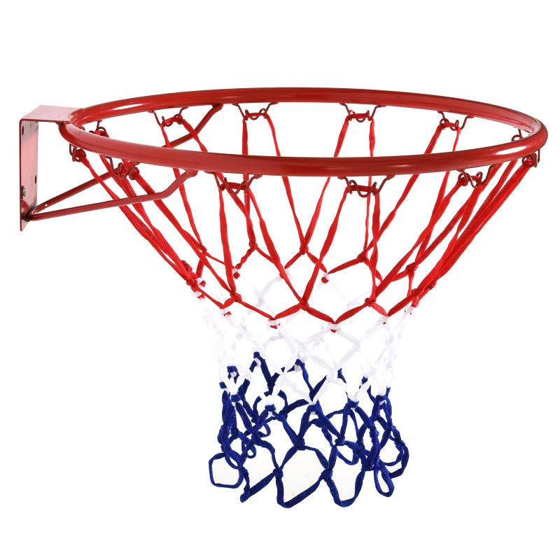 Basketbalring met net basketbalnet stalen buis + nylon rood + blauw + wit ø46 cm