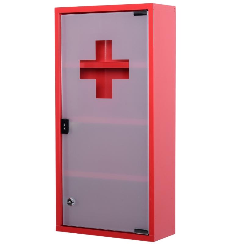 Metalen medicijnkastje, medicijnkastje, EHBO-kast, 4 vakken, rode draaideur