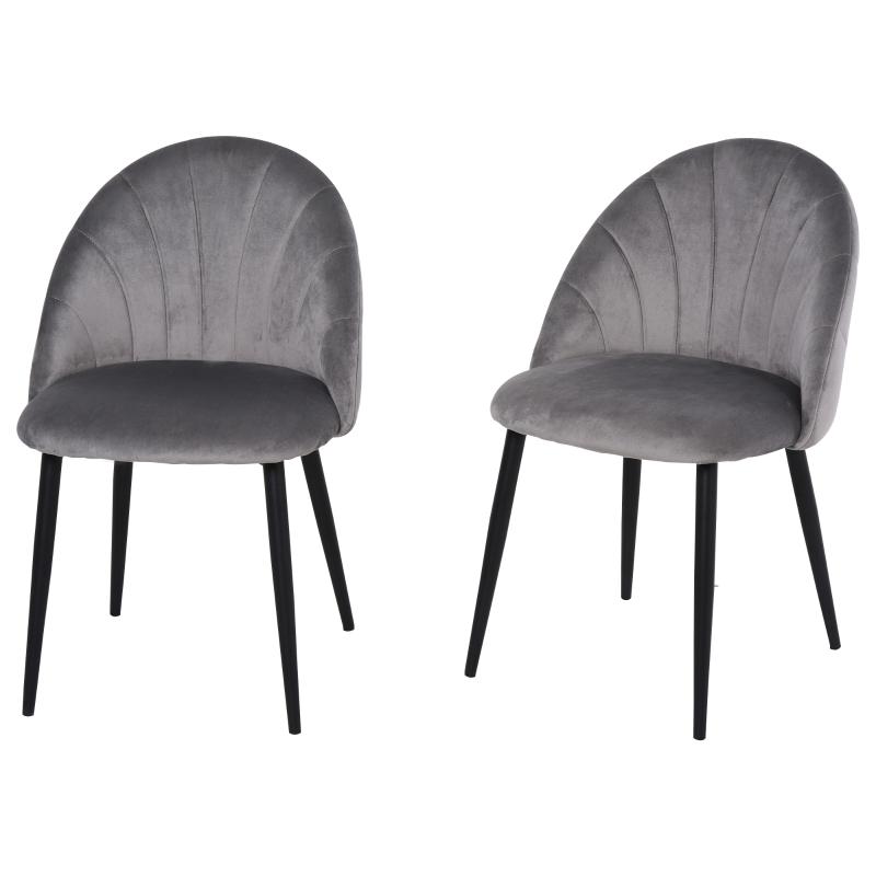 Eetkamerstoelen set van 2 keukenstoel bureaustoel met rugleuning fluweel metaal grijs