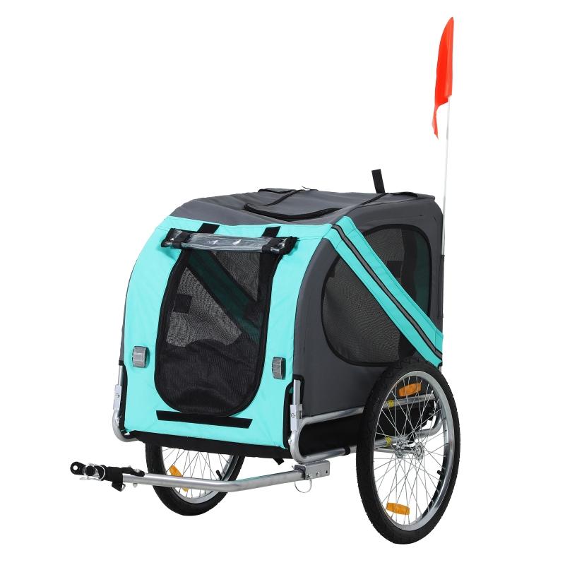 huisdier fietsaanhanger weersbescherming hondenkar oxford-stof blauw / groen