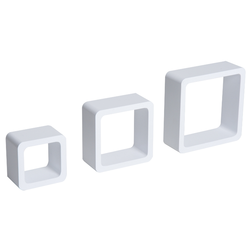 Wandplank set van 3 kubusvormige planken hangplank kubus MDF wit
