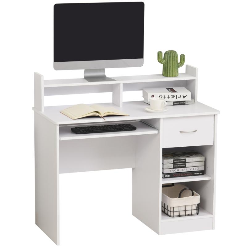 Computertafel kantoortafel speeltafel pc-tafel met lade wit