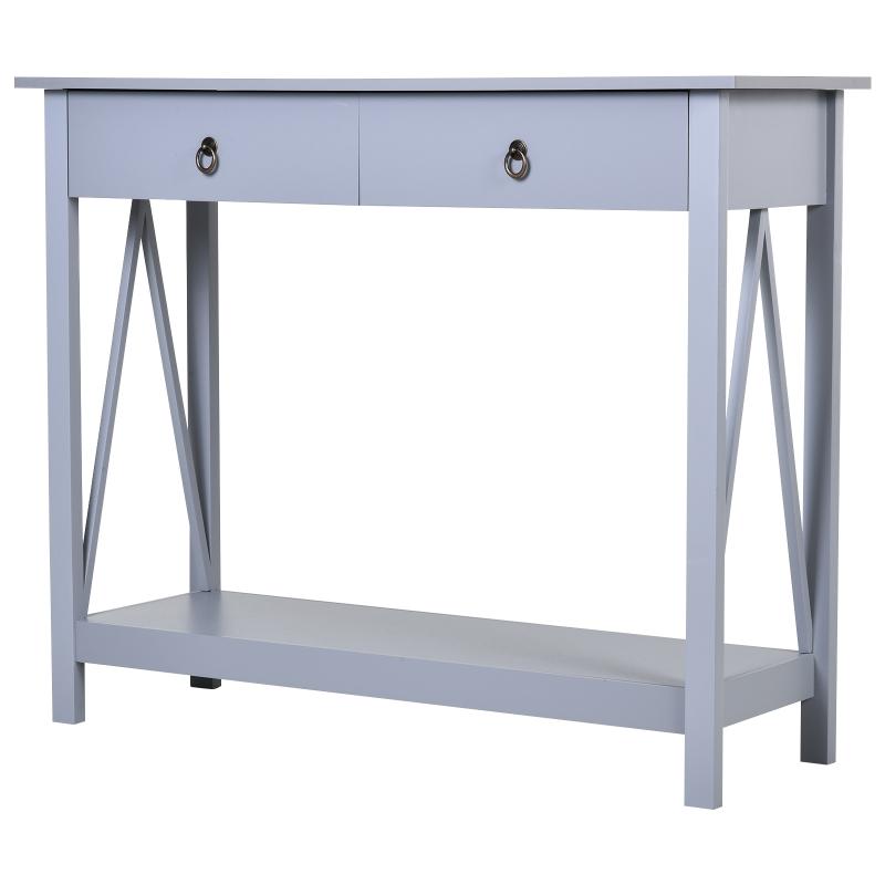 Consoletafel bijzettafel met 2 schuiflades dressoir entree massief hout grijs