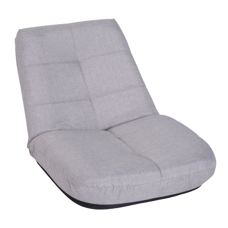 vloerstoel vloerfauteuil zitkussen gepolsterd in 5 standen verstelbaar linnen grijs