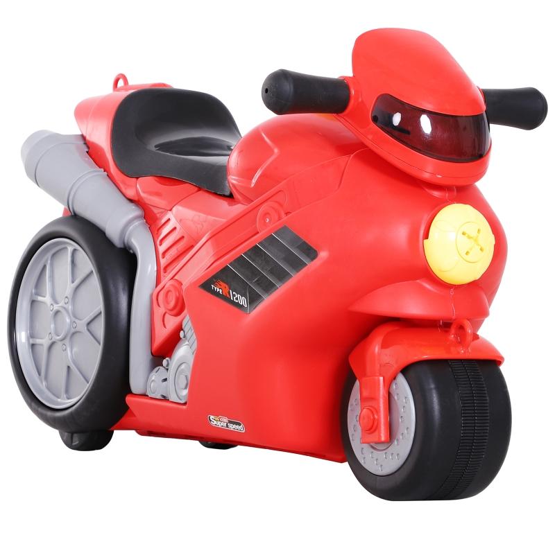 Kinderkoffer motorfiets kinderbagage handbagage met riem om te zitten rood wielen