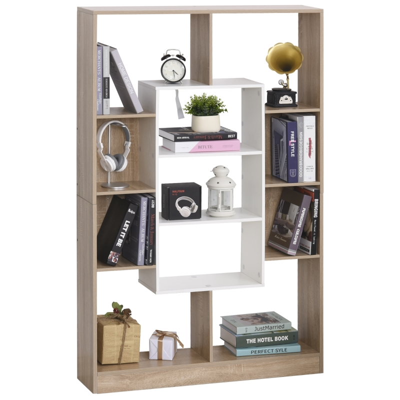 boekenkast vrijstaande stelling kantoorkast dossierkast E1-kwaliteit spaanplaat naturel + wit 95 x 22 x 150 cm