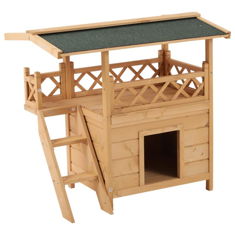 kattenhuis 2 verdiepingen kattenhut kattenvilla asfaltdak balkon massief hout naturel