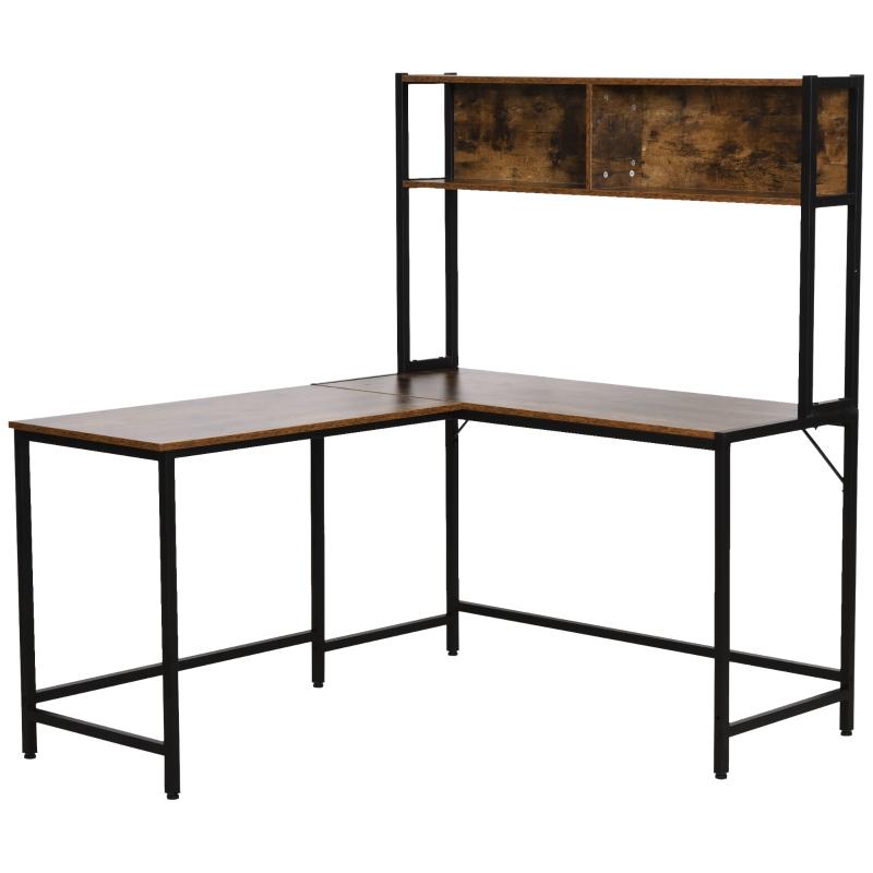 Computertafel L-vormig hoekbureau bureautafel bureau naturel + zwart