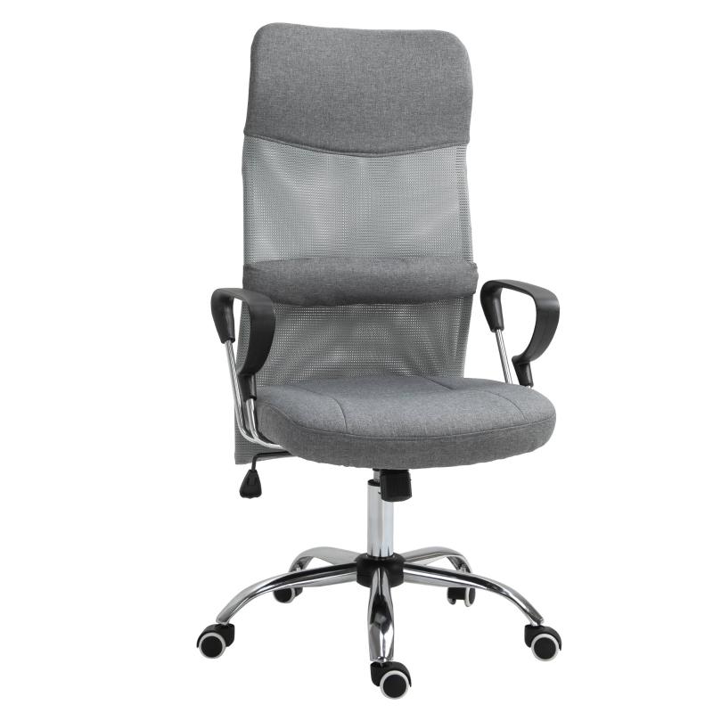 Bureaustoel gamingstoel ergonomische draaistoel kantoorstoel linnen grijs