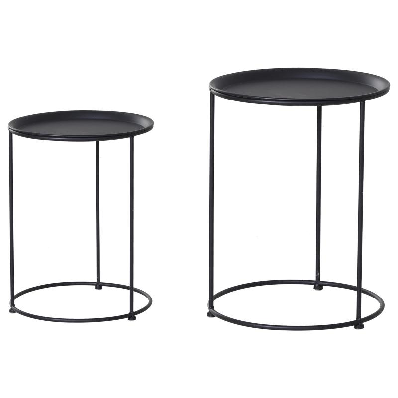 Bijzettafel set van 2 tuin salontafel koffietafel woonkamer zwart metaal