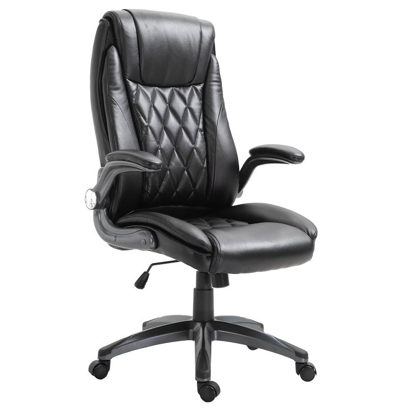 Bureaustoel met wipfunctie draaistoel computerstoel in hoogte verstelbaar kunstleer