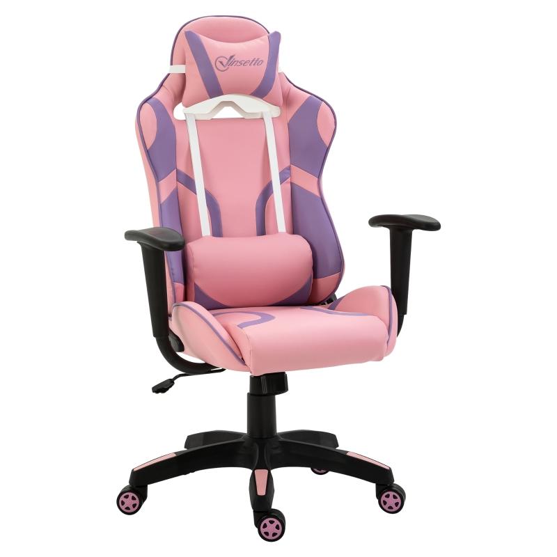 Ergonomische gaming stoel kantoorstoel draaistoel in hoogte verstelbaar roze & paars