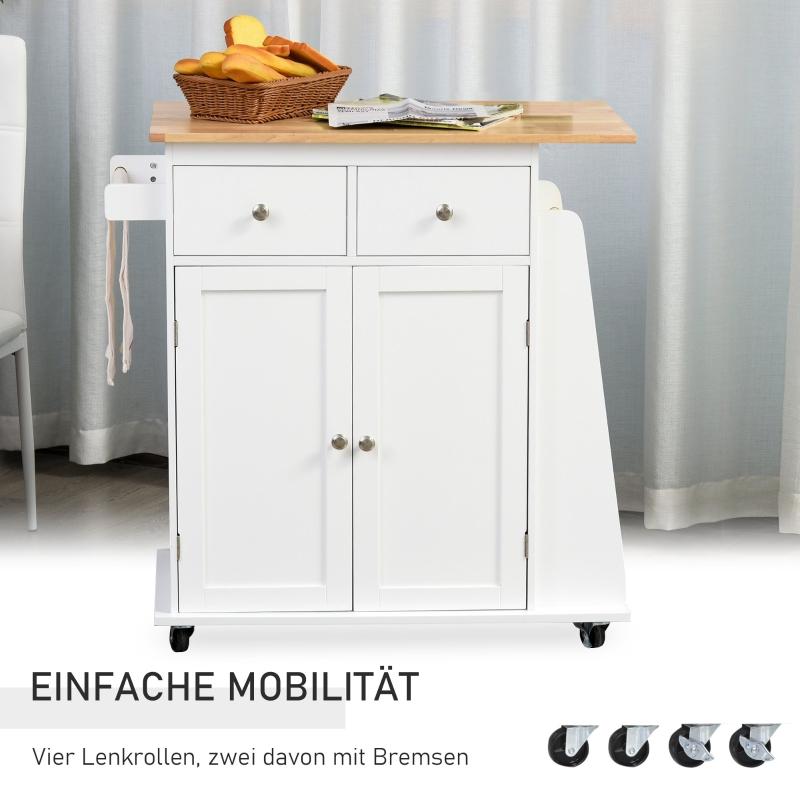 keukenwagen met wielen, serveerwagen, keukenkast met kruidenrek, rubberboomhout, wit