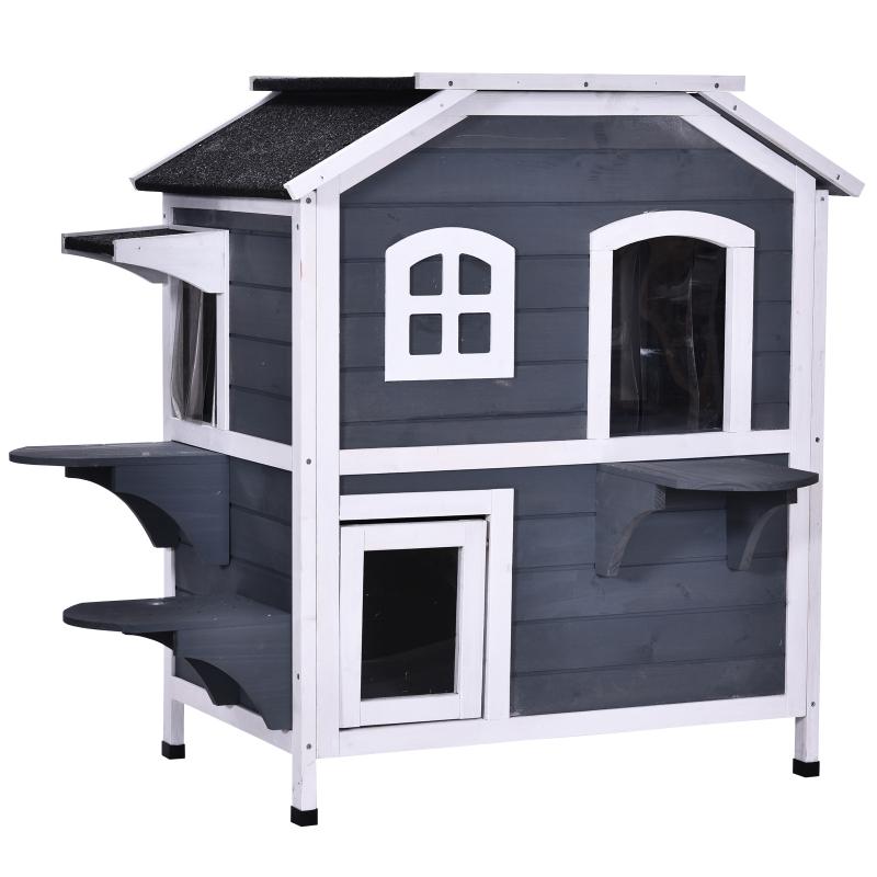 kattenhuis voor buiten kattenhut met 2 verdiepingen kattenvilla, asfaltdak, massief hout grijs