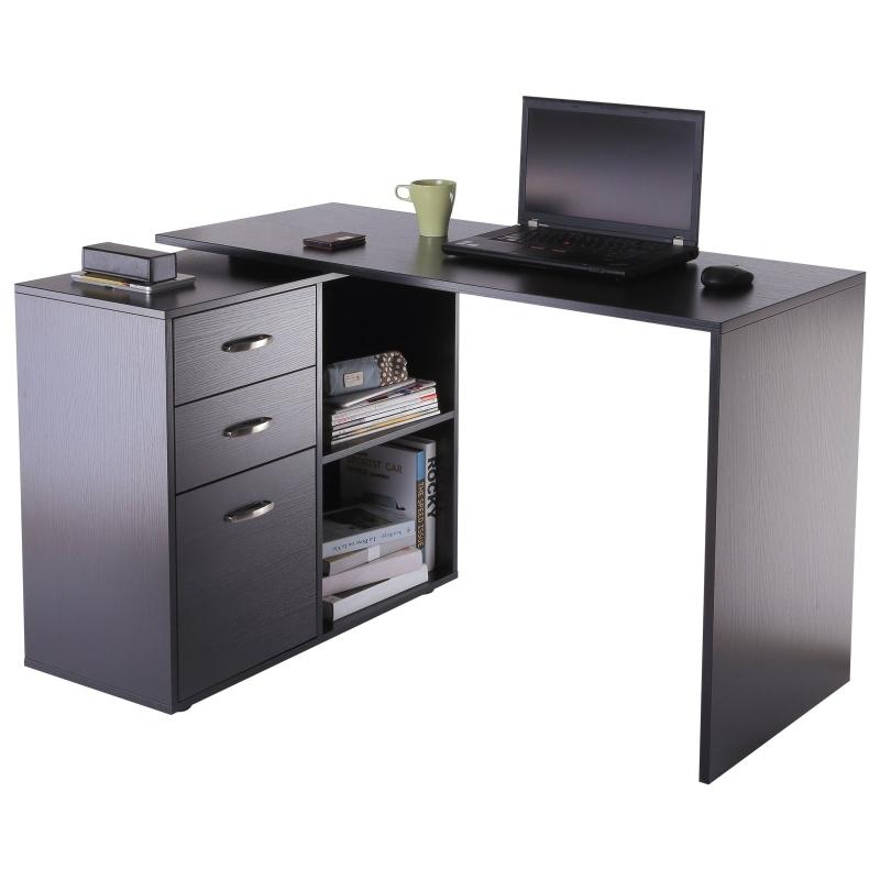 Hoekschrijftafel computertafel bureau hoekbureau zwart