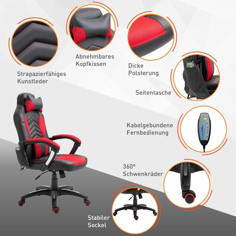 Kantoorstoel draaistoel sportstoel massagestoel directiestoel massage met warmtefunctie
