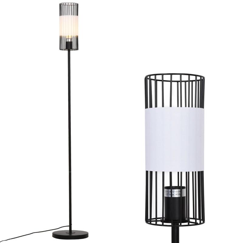 Staande lamp voor woonkamer vloerlamp stalamp metaal zwart 23 x 23 x 147,5 cm