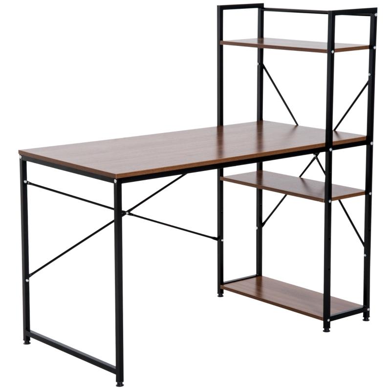 bureau met plank computerbureau werktafel bureau zwart/wit