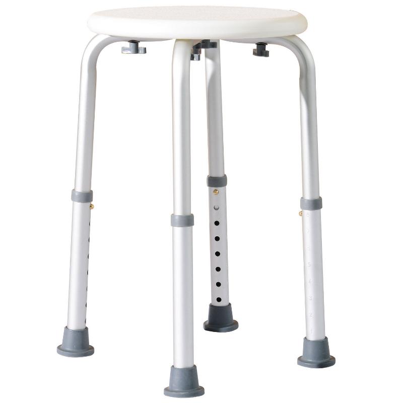 Douchekruk douchestoel badkruk badstoel rond 8 standen in hoogte verstelbaar