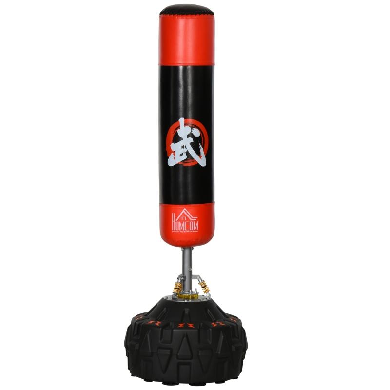 Staande bokszak volwassen vrijstaand bokstrainingstoestel met zuignap zwart + rood