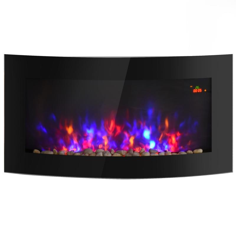 Elektrische kachel elektrische wandhaard haardkachel LED kiezelstenen roestvrij staal 1800 W warmte