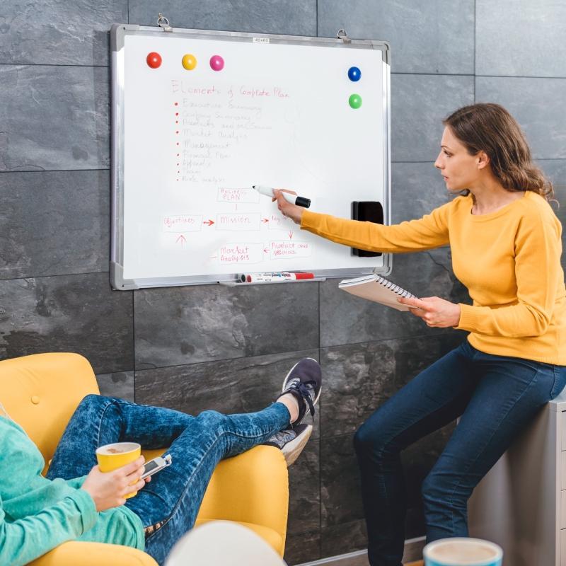 Whiteboard magneetbord wandbord wit wandbord met toebehoren 60 x 45 cm