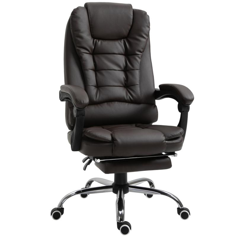 Ergonomische bureaustoel gamestoel verstelbare armleuning schuimstof PU bruin