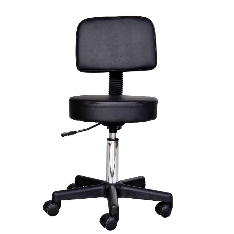 Rolkruk, werkstoel, cosmetische stoel, draaistoel, kruk, professionele salonstoel, zwart